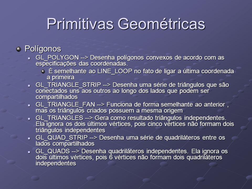 Primitivas Geométricas Polígonos GL_POLYGON --> Desenha polígonos convexos de acordo com as especificações das coordenadas. GL_POLYGON --> Desenha pol