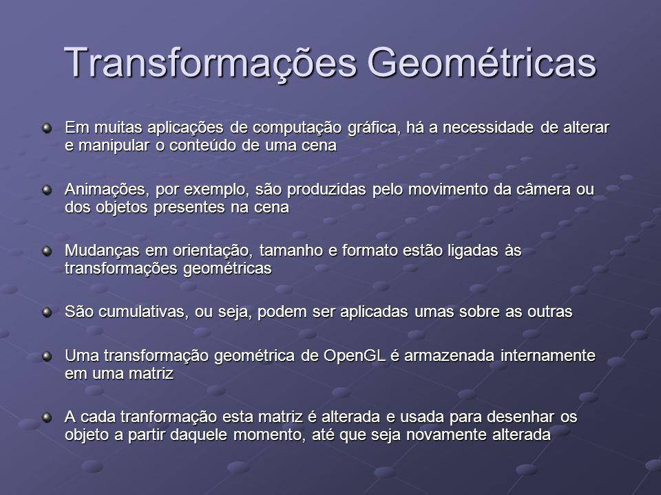 Transformações Geométricas Em muitas aplicações de computação gráfica, há a necessidade de alterar e manipular o conteúdo de uma cena Animações, por e