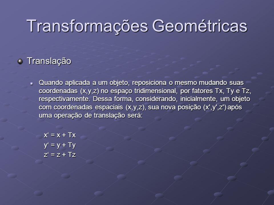 Transformações Geométricas Translação Quando aplicada a um objeto, reposiciona o mesmo mudando suas coordenadas (x,y,z) no espaço tridimensional, por