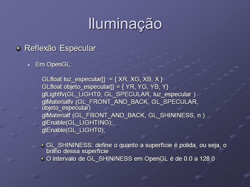 Iluminação Reflexão Especular Em OpenGL: Em OpenGL: GLfloat luz_especular[] = { XR, XG, XB, X } GLfloat luz_especular[] = { XR, XG, XB, X } GLfloat ob