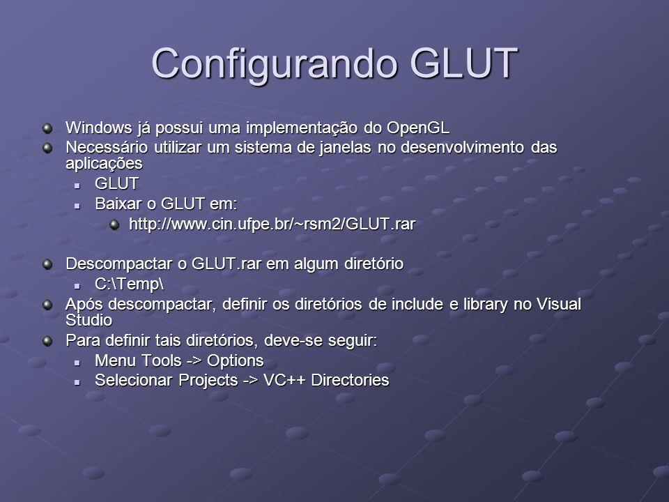 Configurando GLUT Windows já possui uma implementação do OpenGL Necessário utilizar um sistema de janelas no desenvolvimento das aplicações GLUT GLUT