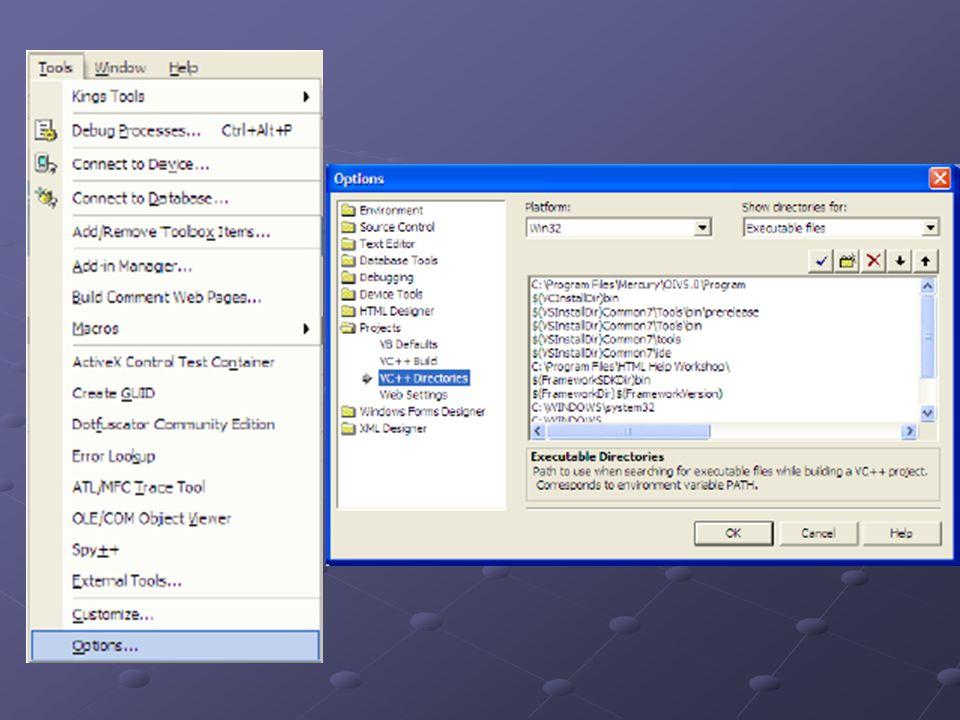 Configurando GLUT Para o diretório de include: Selecionar a opção Include files Selecionar a opção Include files Clicar no ícone do diretório e indicar o diretório include que se encontra abaixo do diretório GLUT, previamente descompactado Clicar no ícone do diretório e indicar o diretório include que se encontra abaixo do diretório GLUT, previamente descompactado Para o diretório de libraries: Selecionar a opção Library files Selecionar a opção Library files Clicar no ícone do diretório e indicar o diretório lib que se encontra abaixo do diretório GLUT, previamente descompactado Clicar no ícone do diretório e indicar o diretório lib que se encontra abaixo do diretório GLUT, previamente descompactado Após definir os diretórios de include e library, clicar em OK GLUT já está devidamente configurado para o desenvolvimento de aplicações OpenGL com sistema de janelas
