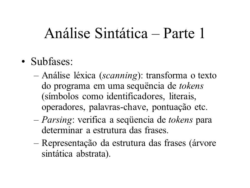Análise Sintática – Parte 1 Subfases: –Análise léxica (scanning): transforma o texto do programa em uma sequëncia de tokens (símbolos como identificad