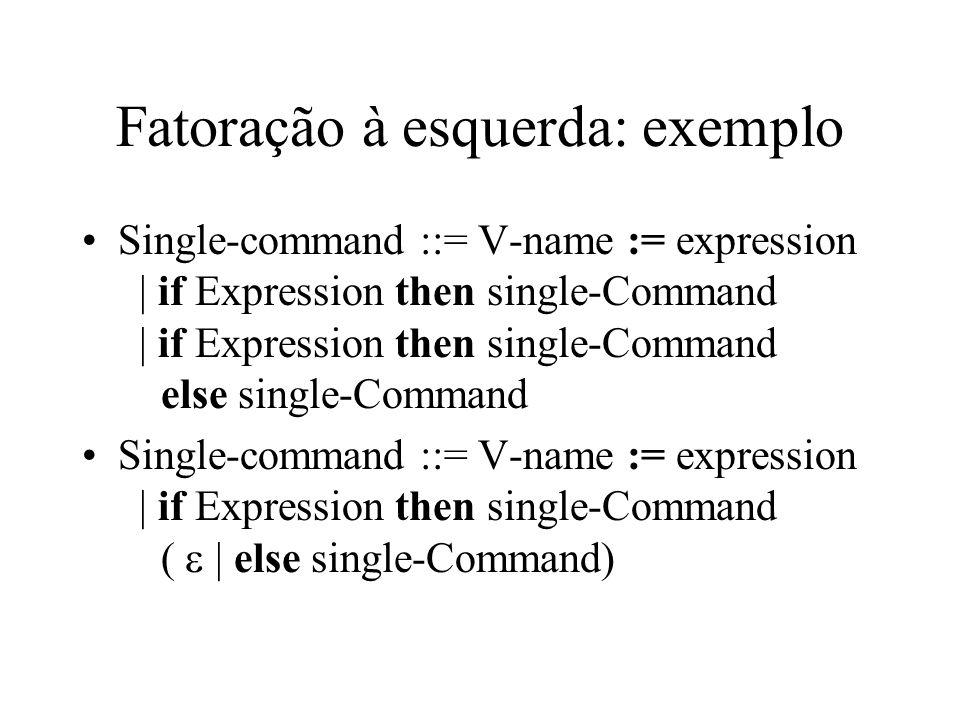 Fatoração à esquerda: exemplo Single-command ::= V-name := expression | if Expression then single-Command | if Expression then single-Command else sin