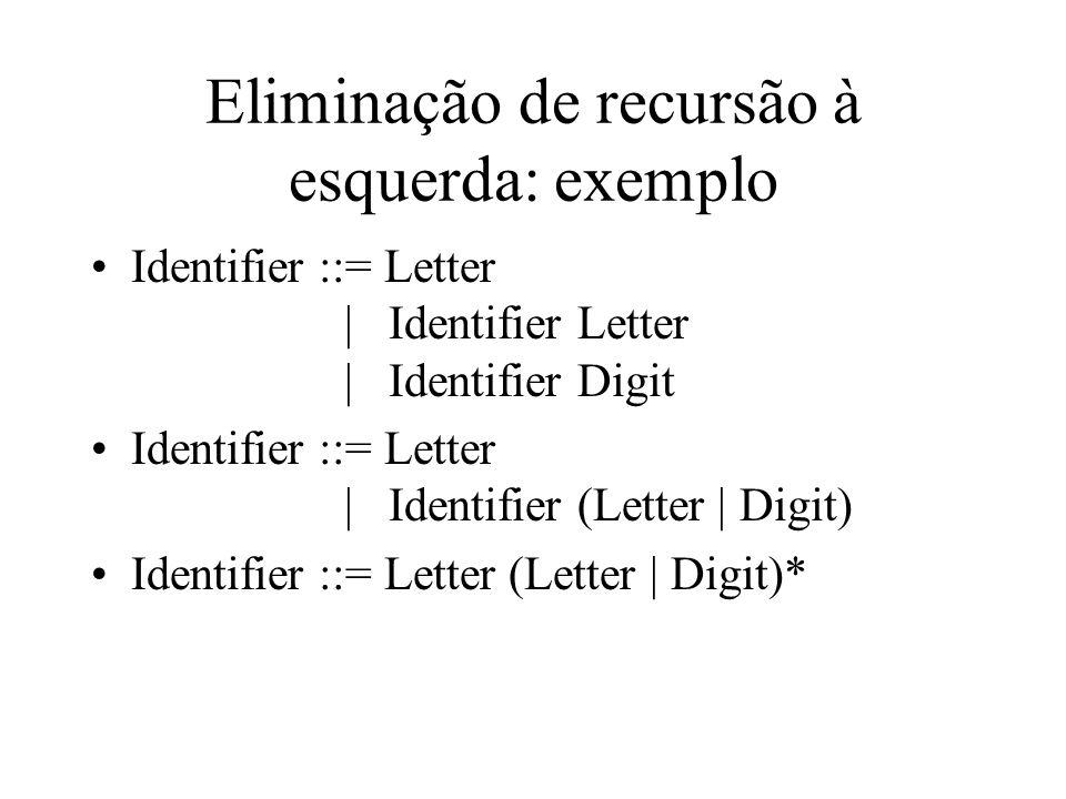 Eliminação de recursão à esquerda: exemplo Identifier ::= Letter | Identifier Letter | Identifier Digit Identifier ::= Letter | Identifier (Letter | D