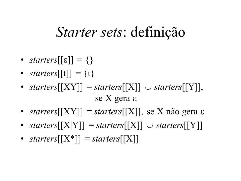 Starter sets: definição starters[[  ]] = {} starters[[t]] = {t} starters[[XY]] = starters[[X]]  starters[[Y]], se X gera  starters[[XY]] = starters