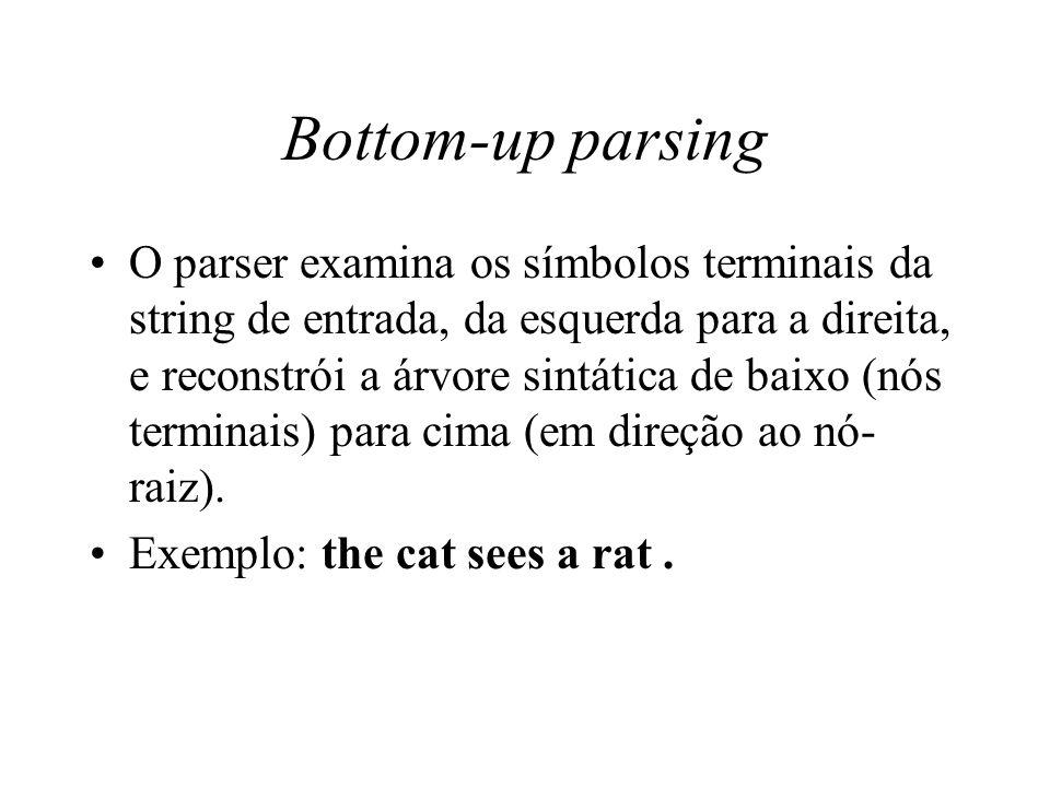 Bottom-up parsing O parser examina os símbolos terminais da string de entrada, da esquerda para a direita, e reconstrói a árvore sintática de baixo (n