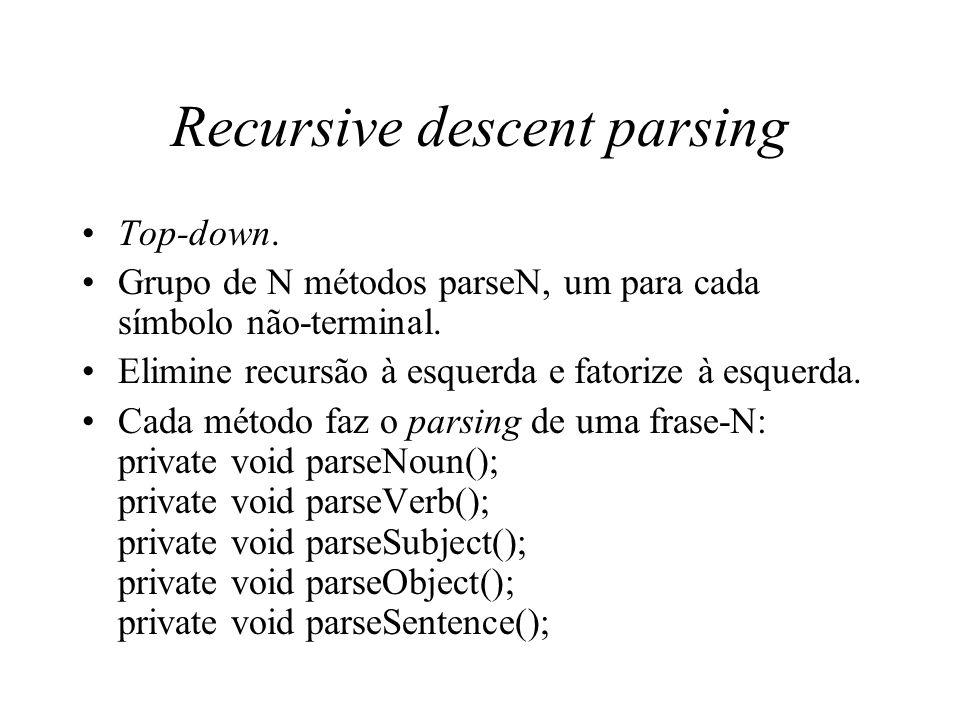 Recursive descent parsing Top-down. Grupo de N métodos parseN, um para cada símbolo não-terminal. Elimine recursão à esquerda e fatorize à esquerda. C