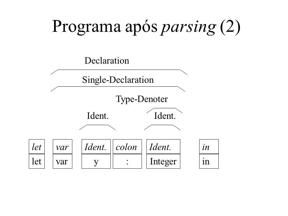 Recursive descent parsing Top-down.Grupo de N métodos parseN, um para cada símbolo não-terminal.