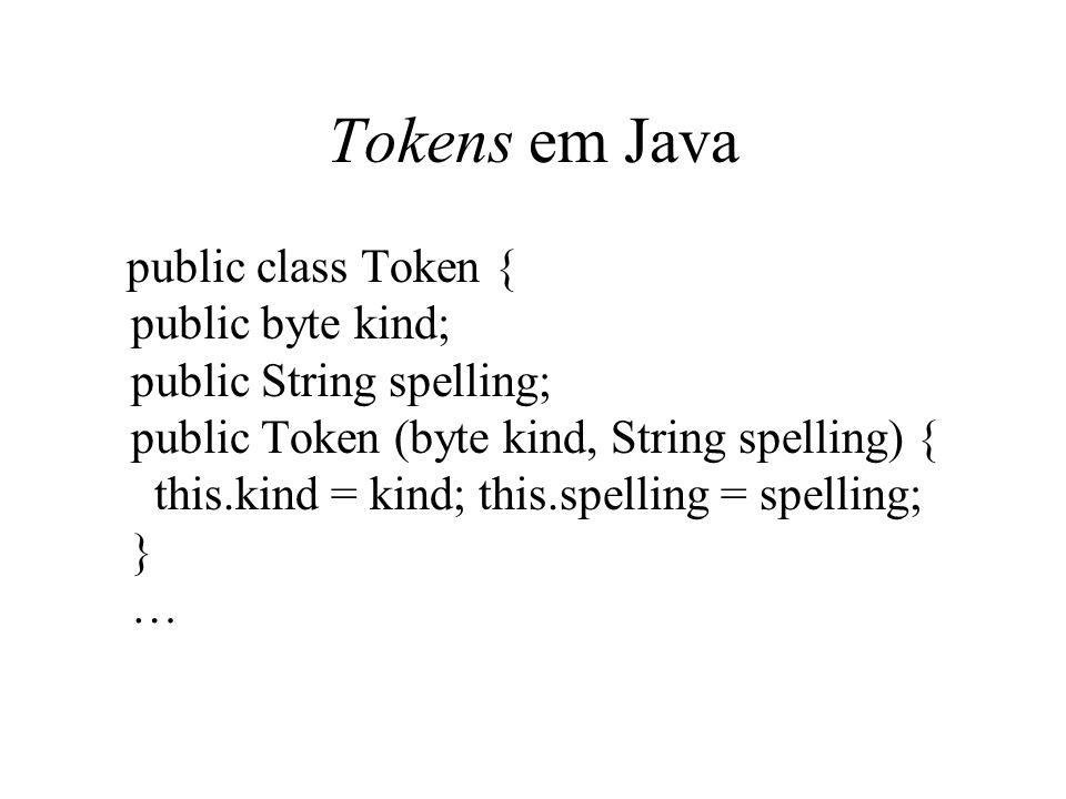 Tokens em Java public class Token { public byte kind; public String spelling; public Token (byte kind, String spelling) { this.kind = kind; this.spell