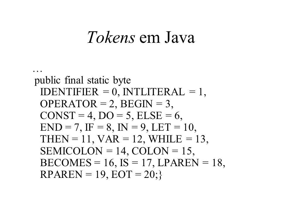 Parsing Algorítmos de parsing: são classificados em bottom-up parsing e top-down parsing Definem a ordem em que a parse tree é construída (na prática ela não é construída de verdade)