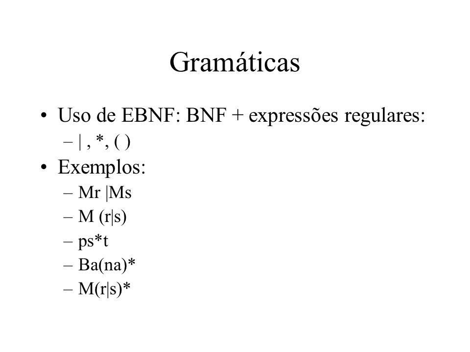 Gramáticas Uso de EBNF: BNF + expressões regulares: –|, *, ( ) Exemplos: –Mr |Ms –M (r|s) –ps*t –Ba(na)* –M(r|s)*