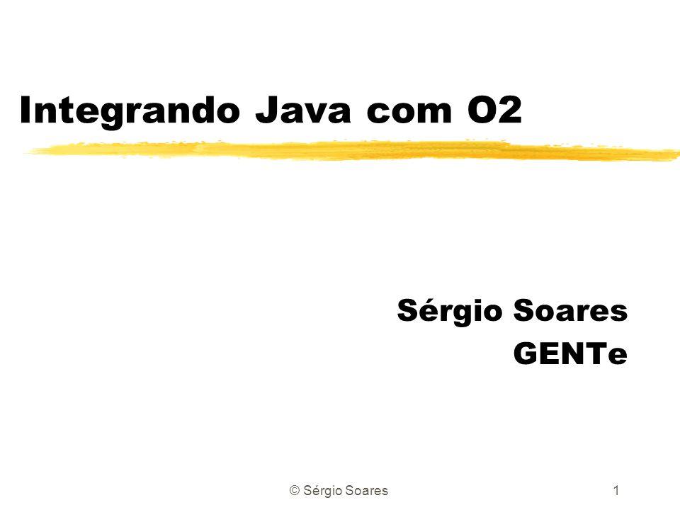 © Sérgio Soares12 Clase Extent Extent personExtent; personExtent = Extent.all( Person ); personExtent = Extent.proper( Person ); personExtent = Extent.all( Person ).where( this.name = \ John\ and this.age = 36 ); personExtent = Extent.all( Person ).orderBy( this.name ); Person p; for (Enumeration e = personExtent.elements(); e.hasMoreElements() ;) { p = (Person)e.nextElement(); System.out.println(p.name); }