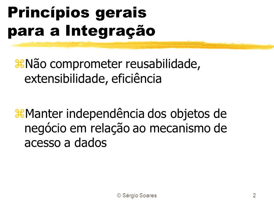 © Sérgio Soares2 zNão comprometer reusabilidade, extensibilidade, eficiência zManter independência dos objetos de negócio em relação ao mecanismo de a