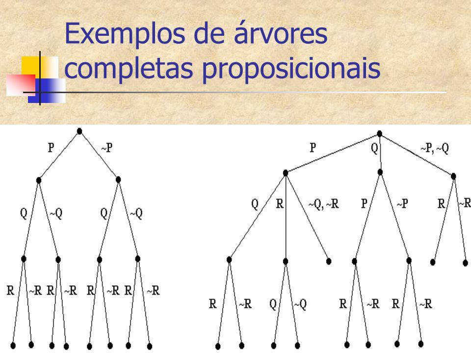 Exemplos de árvores completas proposicionais