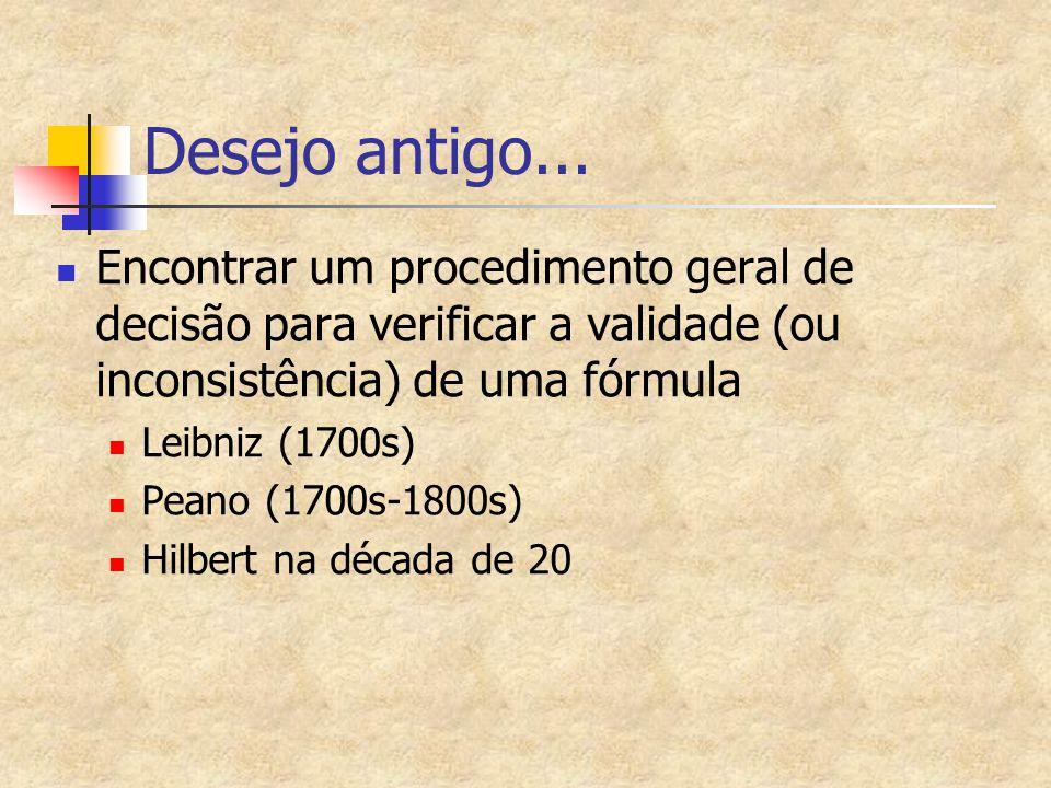 Desejo antigo... Encontrar um procedimento geral de decisão para verificar a validade (ou inconsistência) de uma fórmula Leibniz (1700s) Peano (1700s-
