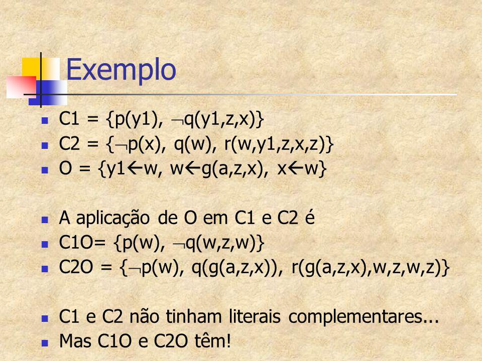 Exemplo C1 = {p(y1),  q(y1,z,x)} C2 = {  p(x), q(w), r(w,y1,z,x,z)} O = {y1  w, w  g(a,z,x), x  w} A aplicação de O em C1 e C2 é C1O= {p(w),  q(