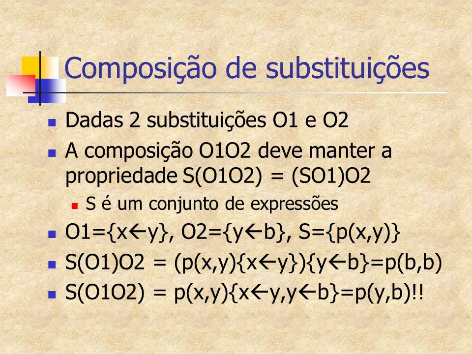 Composição de substituições Dadas 2 substituições O1 e O2 A composição O1O2 deve manter a propriedade S(O1O2) = (SO1)O2 S é um conjunto de expressões