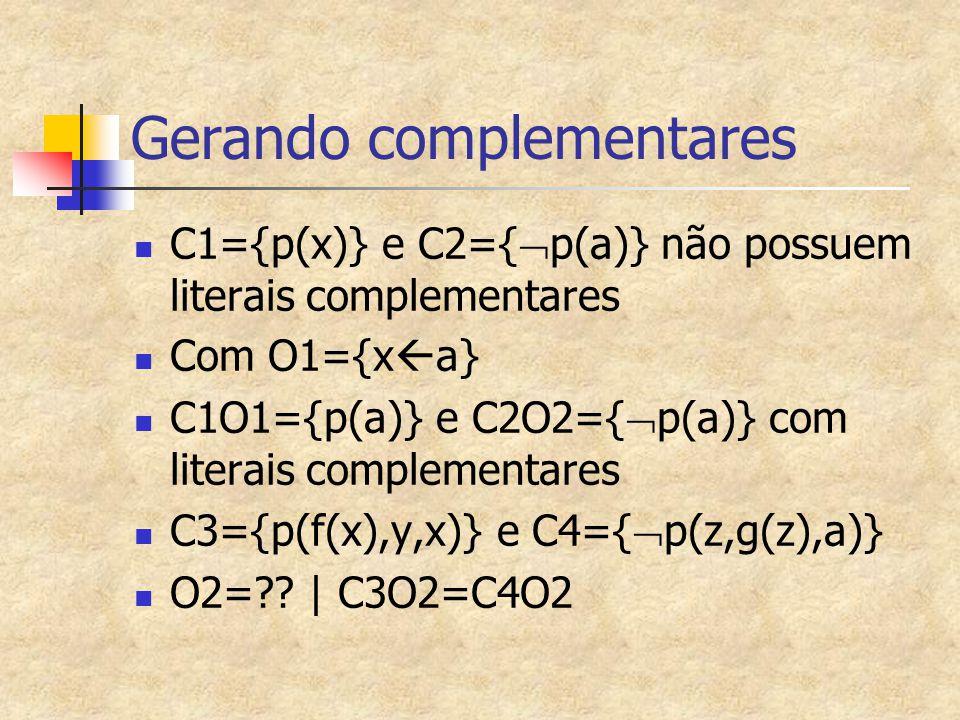 Gerando complementares C1={p(x)} e C2={  p(a)} não possuem literais complementares Com O1={x  a} C1O1={p(a)} e C2O2={  p(a)} com literais complemen