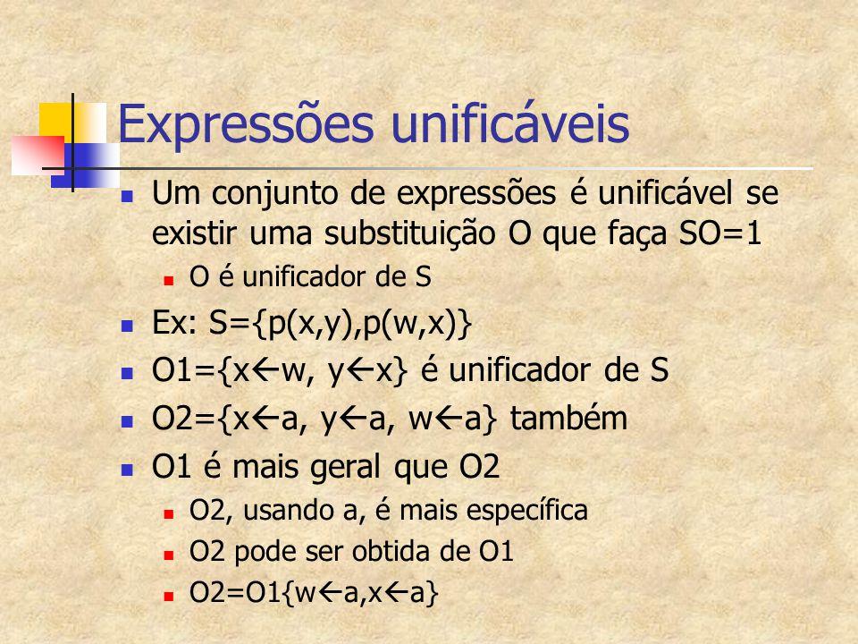 Expressões unificáveis Um conjunto de expressões é unificável se existir uma substituição O que faça SO=1 O é unificador de S Ex: S={p(x,y),p(w,x)} O1