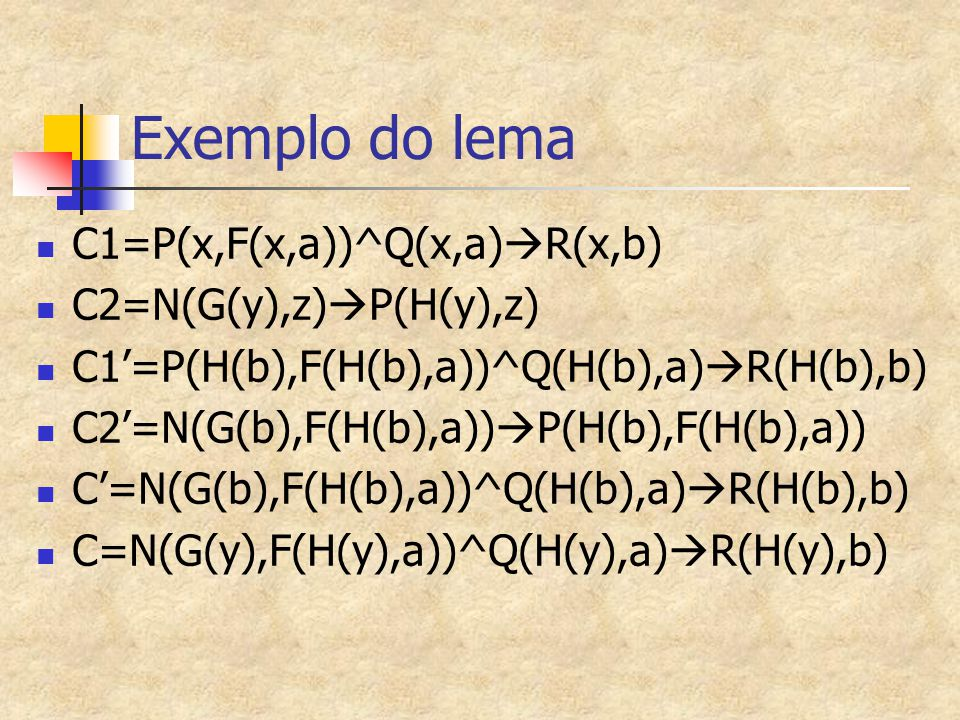 Exemplo do lema C1=P(x,F(x,a))^Q(x,a)  R(x,b) C2=N(G(y),z)  P(H(y),z) C1'=P(H(b),F(H(b),a))^Q(H(b),a)  R(H(b),b) C2'=N(G(b),F(H(b),a))  P(H(b),F(H