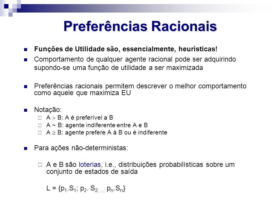 Restrições Sobre Preferências Racionais Axiomas da Teoria da Utilidade:  Ordenabilidade: (A > B)  ( B > A)  (A ~ B)  Transitividade: (A > B)  (B > C)  (A > C)  Continuidade: A > B > C   p [p.A; 1 - p.C] ~ B  Substitutabilidade: A ~ B  [p.A; 1 – p.C] ~ [p.B; 1 – p.C]  Monoticidade: A > B  ( p  q  [p.A; 1 – p.B]  [q.A; 1 – q.B] )  Decomposabilidade: [p.A; 1 – p.