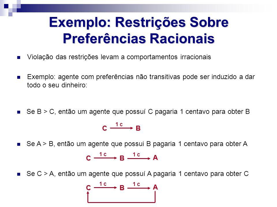Exemplo: Restrições Sobre Preferências Racionais Violação das restrições levam a comportamentos irracionais Exemplo: agente com preferências não trans