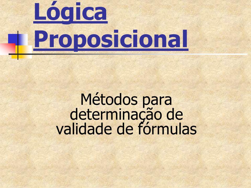 Lógica Proposicional Métodos para determinação de validade de fórmulas