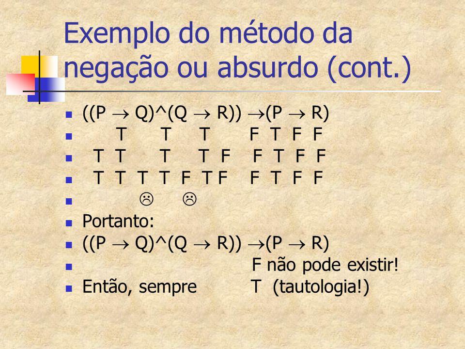 Exemplo do método da negação ou absurdo (cont.) ((P  Q)^(Q  R))  (P  R) T T T F T F F T T T T F F T F F T T T T F T F F T F F   Portanto: ((P 