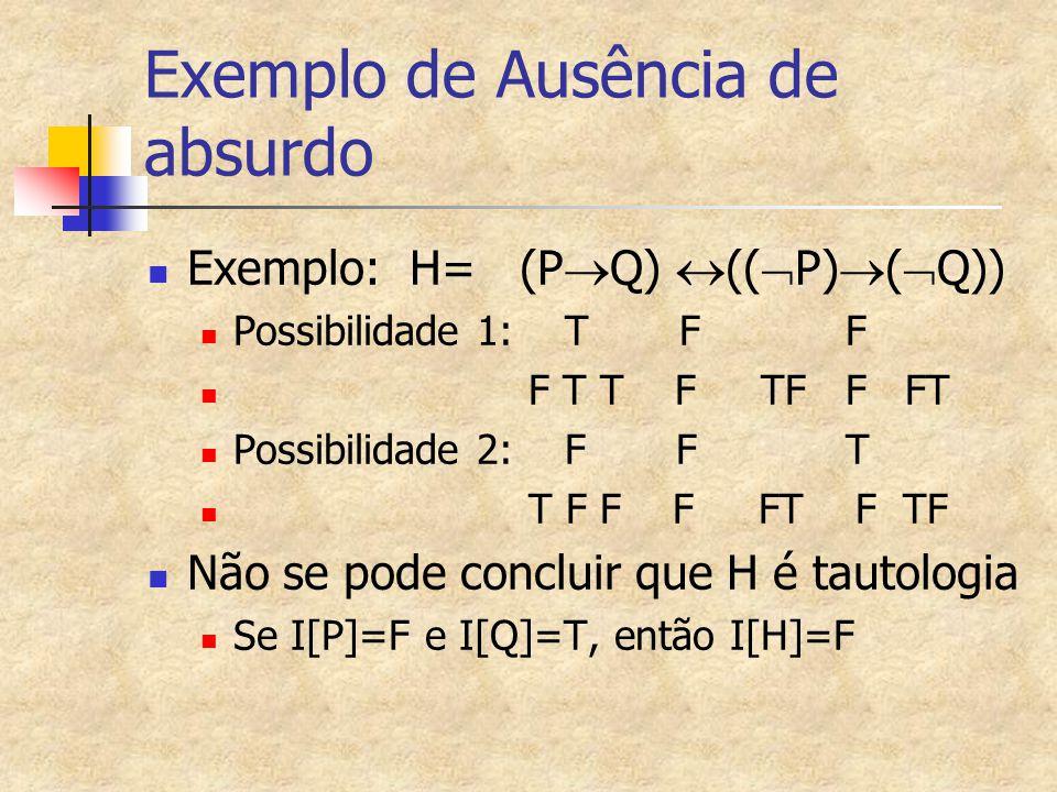 Exemplo de Ausência de absurdo Exemplo: H= (P  Q)  ((  P)  (  Q)) Possibilidade 1: T F F F T T F TF F FT Possibilidade 2: FF T T F F F FT F TF Nã