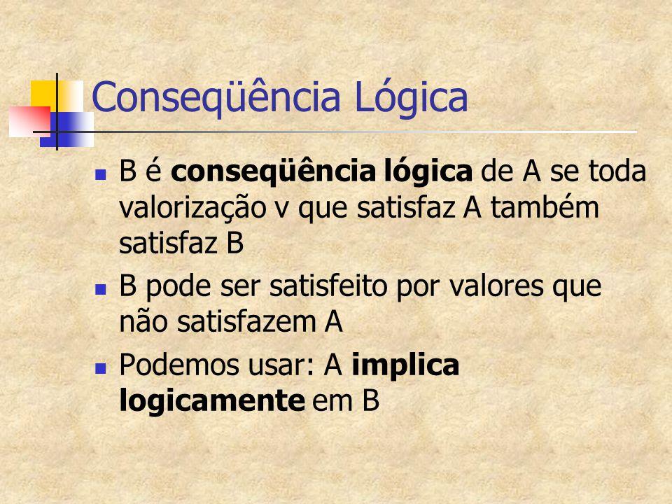 Conseqüência Lógica B é conseqüência lógica de A se toda valorização v que satisfaz A também satisfaz B B pode ser satisfeito por valores que não sati