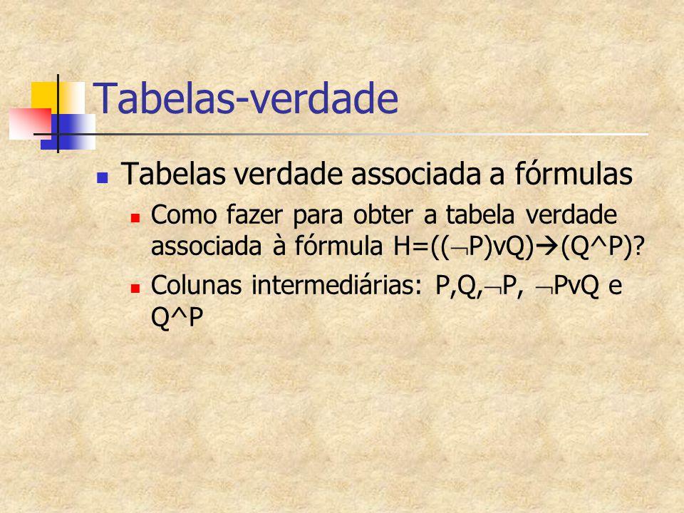 Tabelas-verdade Tabelas verdade associada a fórmulas Como fazer para obter a tabela verdade associada à fórmula H=((  P)vQ)  (Q^P)? Colunas intermed