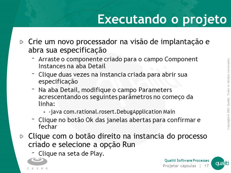 Copyright © 2002 Qualiti. Todos os direitos reservados. Qualiti Software Processes Projetar cápsulas | 17 Executando o projeto Crie um novo processado