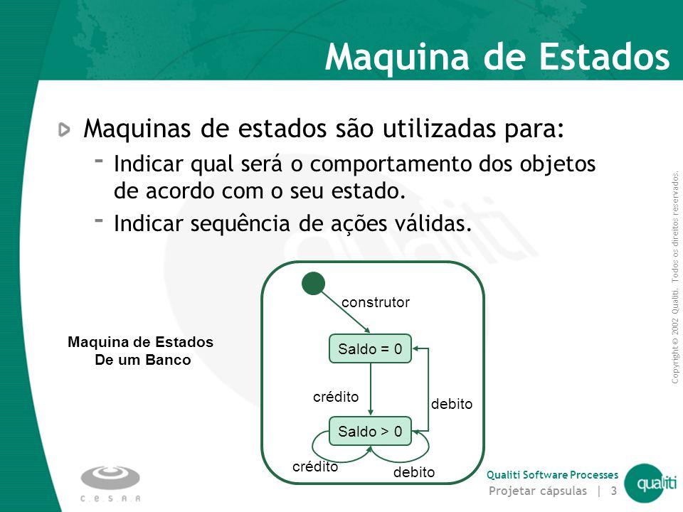 Copyright © 2002 Qualiti. Todos os direitos reservados. Qualiti Software Processes Projetar cápsulas | 3 Maquina de Estados Maquinas de estados são ut