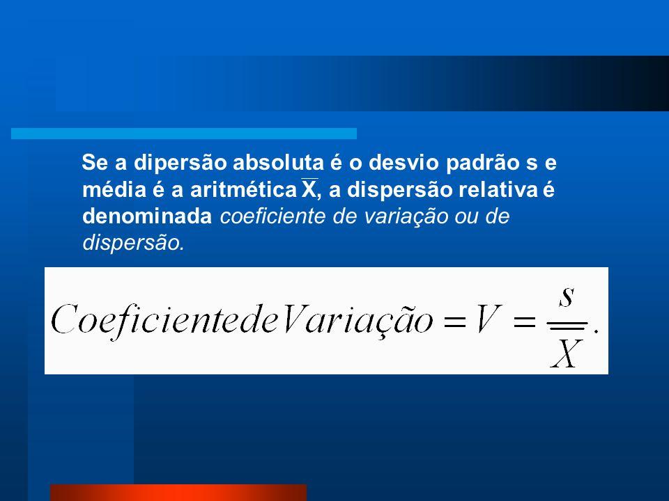 Se a dipersão absoluta é o desvio padrão s e média é a aritmética X, a dispersão relativa é denominada coeficiente de variação ou de dispersão.