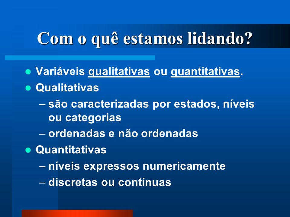 Com o quê estamos lidando? Variáveis qualitativas ou quantitativas. Qualitativas –são caracterizadas por estados, níveis ou categorias –ordenadas e nã