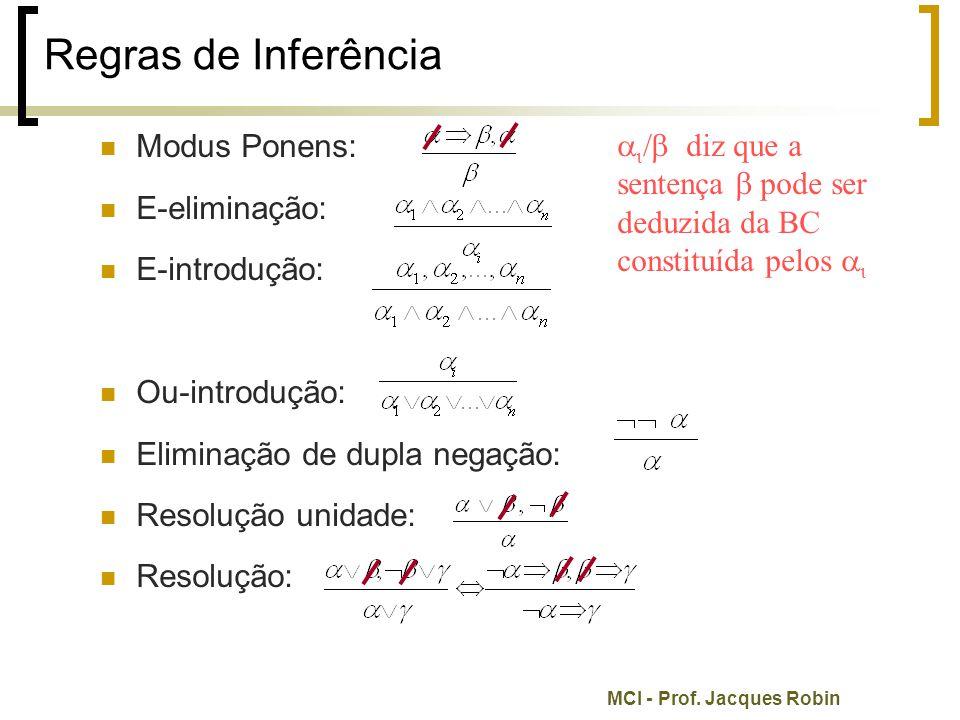 MCI - Prof. Jacques Robin Regras de Inferência Modus Ponens: E-eliminação: E-introdução: Ou-introdução: Eliminação de dupla negação: Resolução unidade