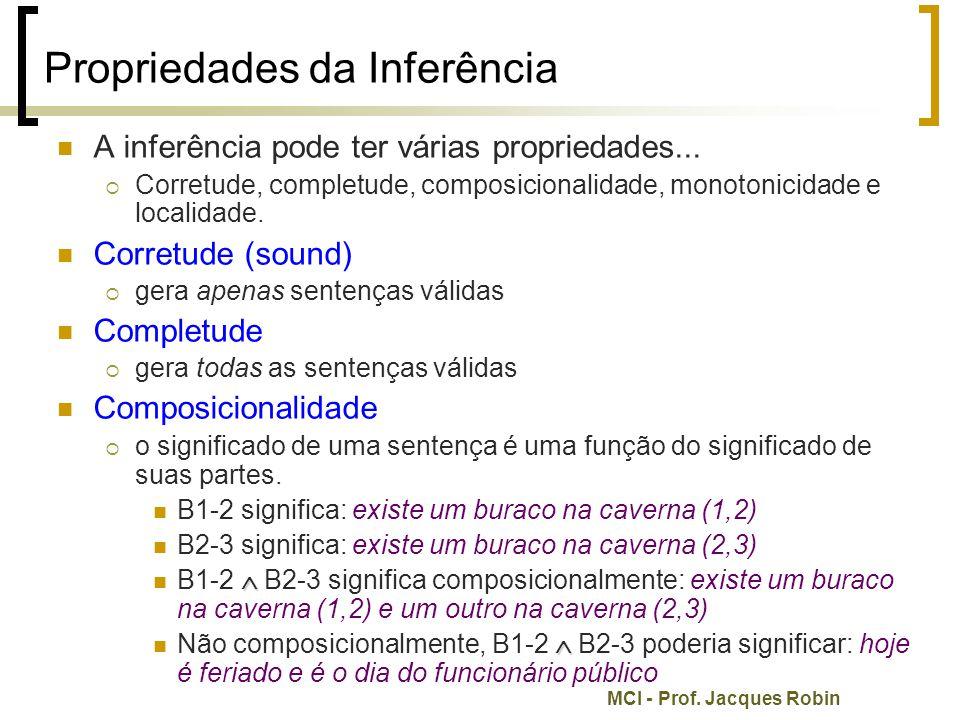 MCI - Prof. Jacques Robin Propriedades da Inferência A inferência pode ter várias propriedades...  Corretude, completude, composicionalidade, monoton
