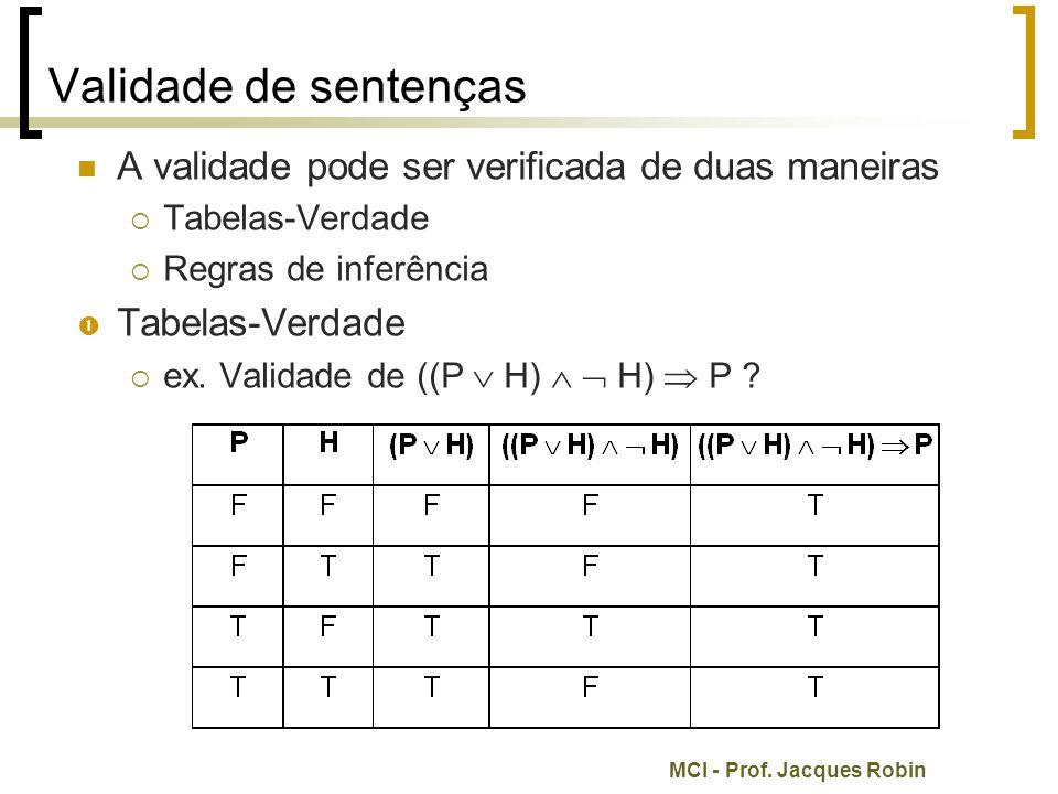 MCI - Prof. Jacques Robin Validade de sentenças A validade pode ser verificada de duas maneiras  Tabelas-Verdade  Regras de inferência  Tabelas-Ver
