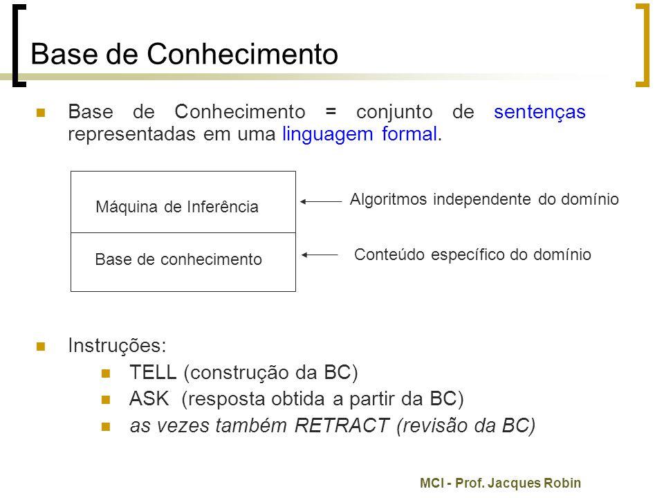MCI - Prof. Jacques Robin Base de Conhecimento Base de Conhecimento = conjunto de sentenças representadas em uma linguagem formal. Instruções: TELL (c