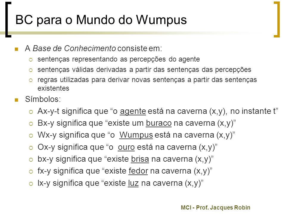MCI - Prof. Jacques Robin BC para o Mundo do Wumpus A Base de Conhecimento consiste em:  sentenças representando as percepções do agente  sentenças