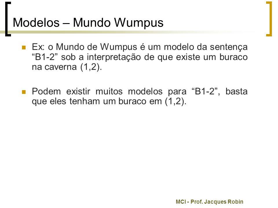 """MCI - Prof. Jacques Robin Modelos – Mundo Wumpus Ex: o Mundo de Wumpus é um modelo da sentença """"B1-2"""" sob a interpretação de que existe um buraco na c"""