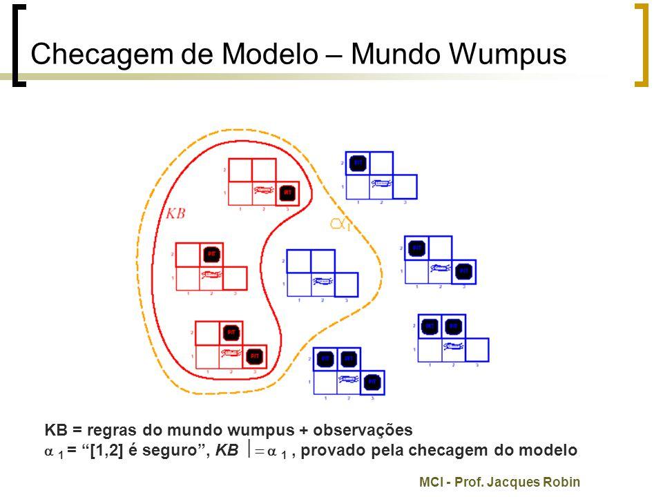 """MCI - Prof. Jacques Robin Checagem de Modelo – Mundo Wumpus KB = regras do mundo wumpus + observações  1 = """"[1,2] é seguro"""", KB   1, provado pela"""