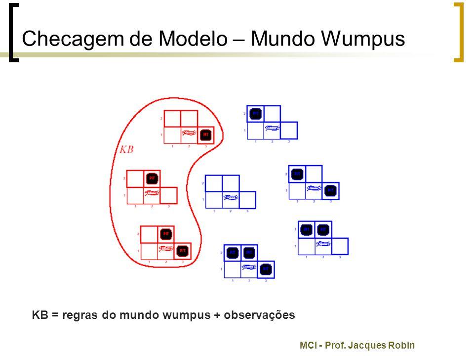 MCI - Prof. Jacques Robin Checagem de Modelo – Mundo Wumpus KB = regras do mundo wumpus + observações