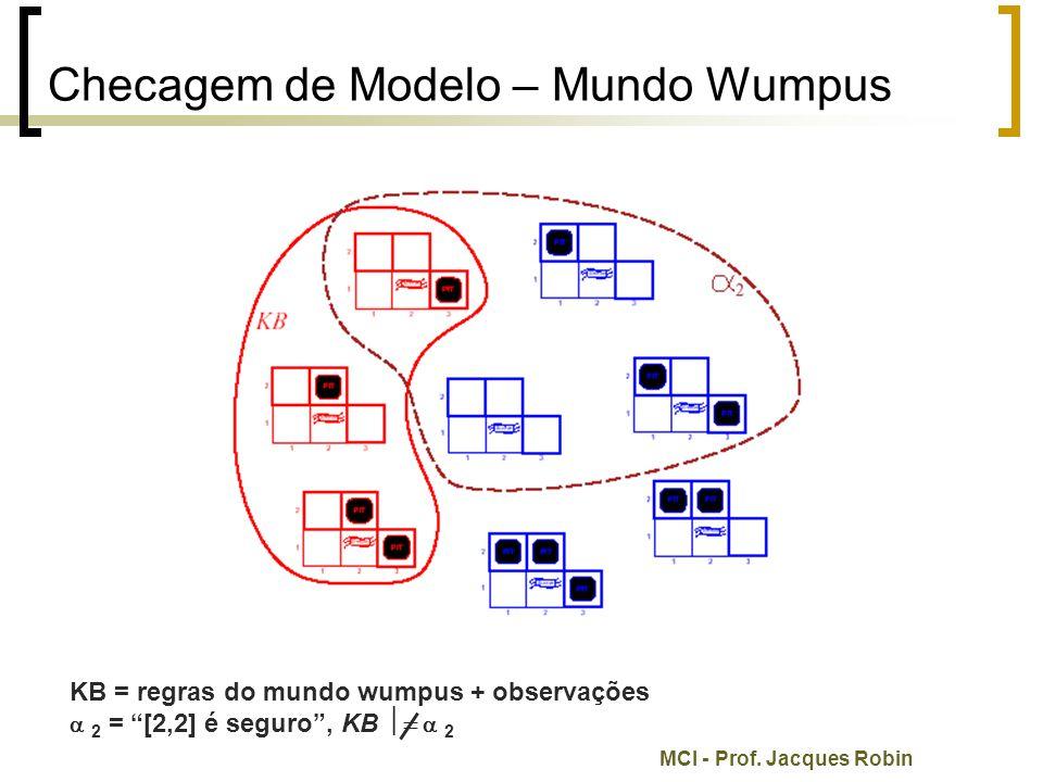 """MCI - Prof. Jacques Robin Checagem de Modelo – Mundo Wumpus KB = regras do mundo wumpus + observações  2 = """"[2,2] é seguro"""", KB   2"""