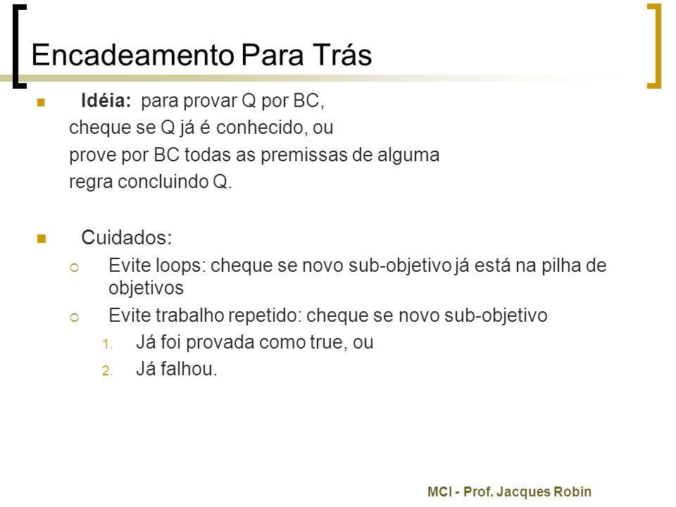 MCI - Prof. Jacques Robin Encadeamento Para Trás Idéia: para provar Q por BC, cheque se Q já é conhecido, ou prove por BC todas as premissas de alguma
