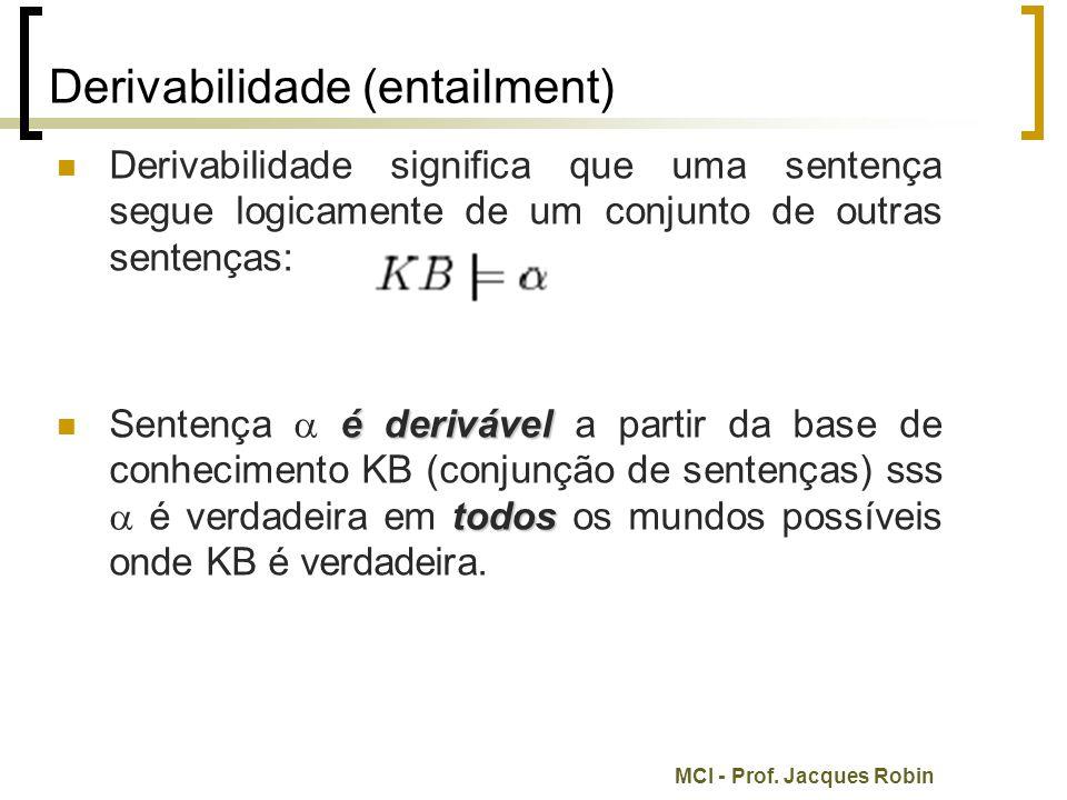 MCI - Prof. Jacques Robin Derivabilidade (entailment) Derivabilidade significa que uma sentença segue logicamente de um conjunto de outras sentenças: