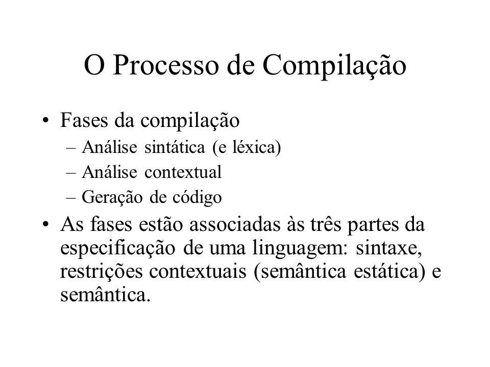 O Processo de Compilação Fases da compilação –Análise sintática (e léxica) –Análise contextual –Geração de código As fases estão associadas às três pa