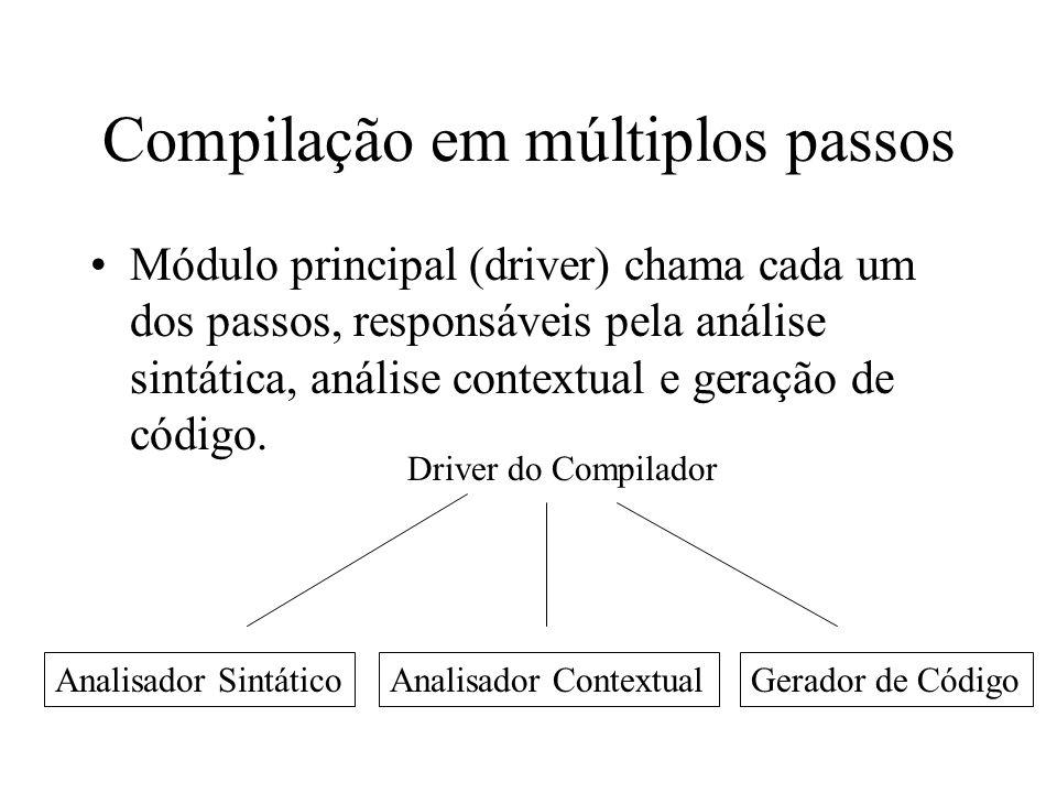 Compilação em múltiplos passos Módulo principal (driver) chama cada um dos passos, responsáveis pela análise sintática, análise contextual e geração d