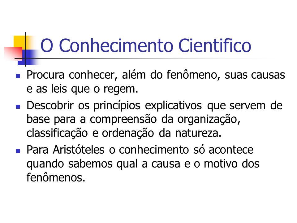 O Conhecimento Cientifico Procura conhecer, além do fenômeno, suas causas e as leis que o regem.